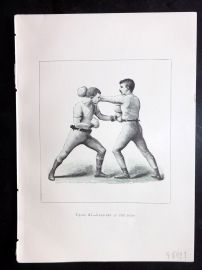Badminton Library 1889 Boxing Print. Lead-Off at the Body.